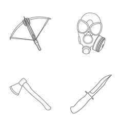 crossbow gas mask ax combat knife weapons set vector image