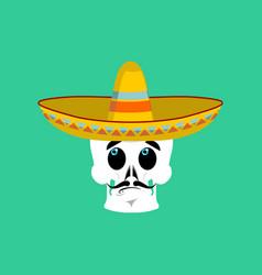 Skull in sombrero surprised emoji mexican vector
