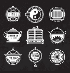 chinese oriental tea shop badges vector image
