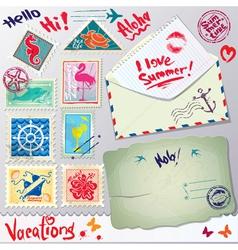 Set of vintage post stamps postcard and envelope vector image