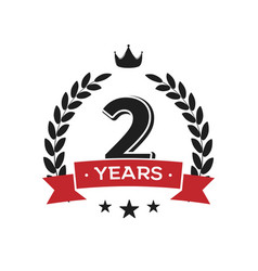 2 nd birthday vintage logo template second year vector image