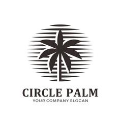 abstract circle palm logo vector image