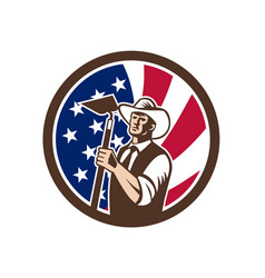 american organic farmer usa flag icon vector image