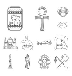 Ancient egypt outline icons in set collection vector