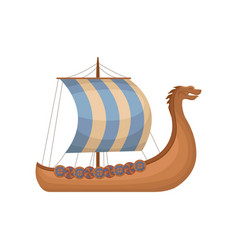 Ancient viking scandinavian draccar with striped vector