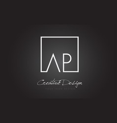 ap square frame letter logo design with black and vector image