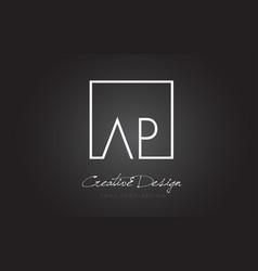 Ap square frame letter logo design with black vector