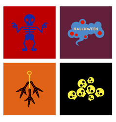 Assembly flat icons halloween skeleton sign vector