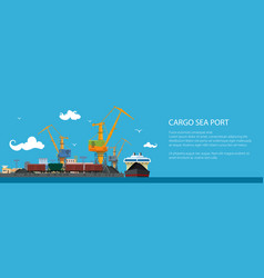 banner with cargo seaport vector image