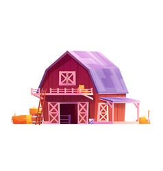 barn with open gates hay rural house barnyard vector image