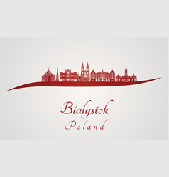 bialystok skyline in red vector image
