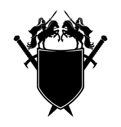 black shield and swords vector image