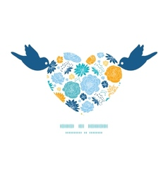 Blue and yellow flowersilhouettes birds vector