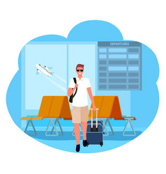 Business trip man tourist in airport vacation vector