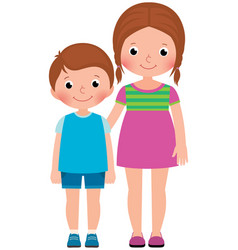 Children brother and sister stand in full length vector