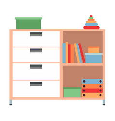 children chest drawers with toys isolated vector image
