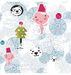 Christmas seamless background with cute baby boy vector image