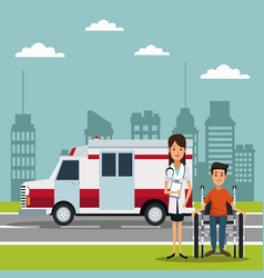 City landscape scene with ambulance truck and vector