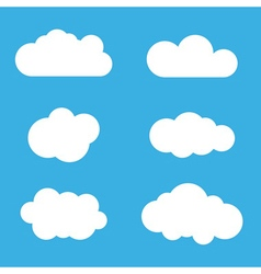 Cloud icons set White outline isolated vector image