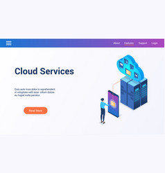 cloud services 3d lp template2 vector image