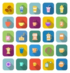Coffee color icons with long shadow vector image