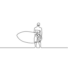 continuous line guy stand up with paddleboard or vector image