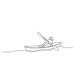 continuous one line drawing woman in canoe vector image