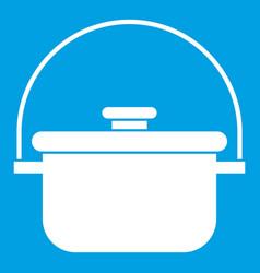 Cooking cauldron icon white vector
