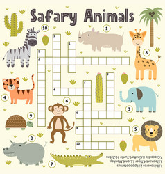crossword for kids with cute safari animals word vector image