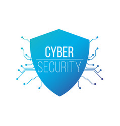 Cyber security concept shield on circuit board vector