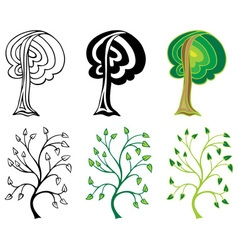 Deciduous trees and branches vector