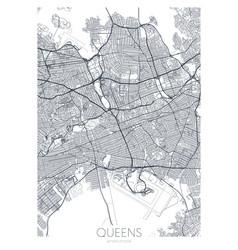 Detailed borough map queens new york city vector