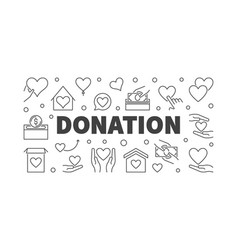 Donation modern line or banner vector