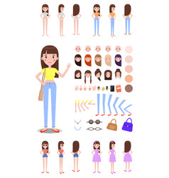 female character constructor with spare parts set vector image