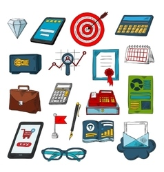 Finance business and investments sketch symbols vector