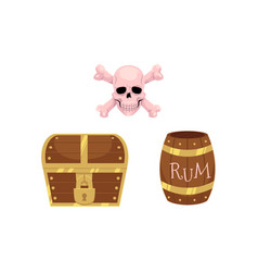 Flat treasure and pirates symbols set vector