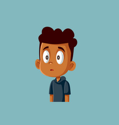 Funny surprised african boy being shy cartoon vector