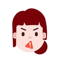 girl head emoji with facial emotions avatar vector image