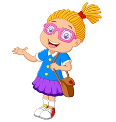 Girl holding bag cartoon presenting vector