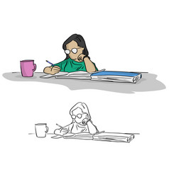 girl with glasses writing in notebook on table vector image