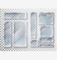 Glass transparent plates set glass modern vector