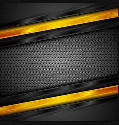 Glossy black and orange stripes on perforated vector