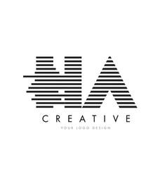 ha h a zebra letter logo design with black and vector image