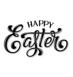 hand drawn lettering happy easter with shadow and vector image