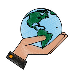 Hand with globe design vector