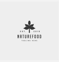 Healthy food nature simple flat logo design vector