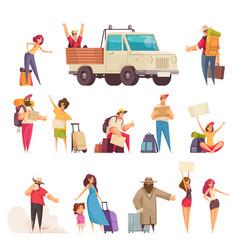 Hitchhiking cartoon set vector