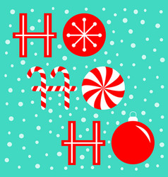 Ho text lettering banner candy cane merry vector