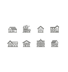 house icon set real estate building symbol vector image