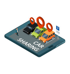 isometric car sharing concept mobile app vector image